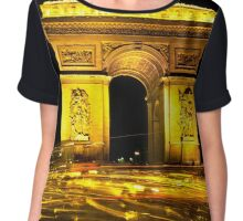 Arc de Triumph with a cocophany of Streaking Lights at the Champs Elysee Chiffon Top