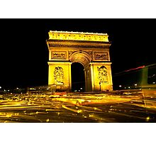 Arc de Triumph with a cocophany of Streaking Lights at the Champs Elysee Photographic Print