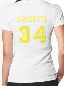 Sweetie 34 - Vintage Retro College Football Sport Team Design For Clothing and Gifts Women's Fitted V-Neck T-Shirt