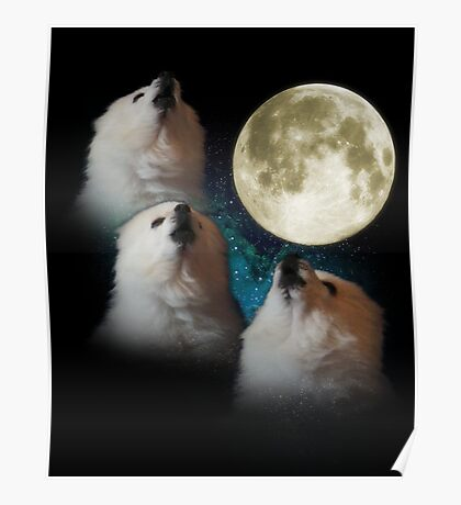 Gabe the Dog - Three Gabe Moon Poster