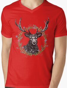 Hipster Stag peaking through a watercolour wreath Mens V-Neck T-Shirt