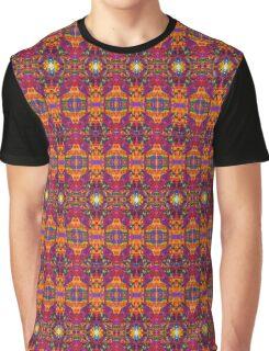Orange Pink Bright Neon Pattern Graphic T-Shirt