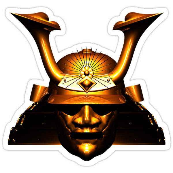 Gold Kabuto (Samurai helmet) T-shirts and Stickers by Steve Crompton