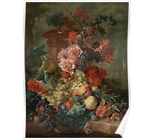 Flowers and Fruit Vintage Poster