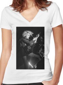 St. Vincent B&W Women's Fitted V-Neck T-Shirt