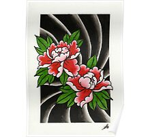 Traditional Japanese peony flower Poster