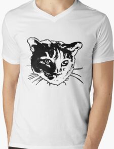 Cool Cat Head Graphic ~ black and white Mens V-Neck T-Shirt