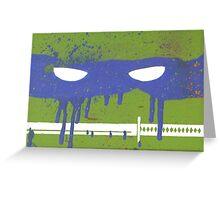 Teenage Graffiti Blue Mask Greeting Card