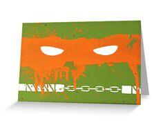 Teenage Graffiti Orange Mask Greeting Card