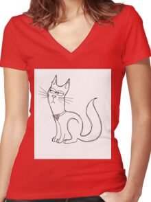 Can You Not Right Meow Women's Fitted V-Neck T-Shirt