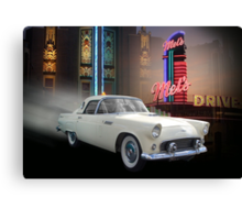 White Thunderbird Classic car 50's background Canvas Print