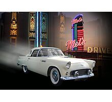 White Thunderbird Classic car 50's background Photographic Print