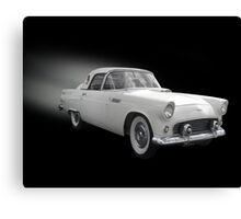 White Thunderbird Classic car on black Canvas Print