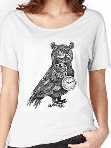 Great Horned Owl with Pocket Watch Women's Relaxed Fit T-Shirt