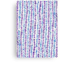 Hand Painted Herringbone Pattern in Purple & Blue Canvas Print