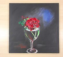 Red Rose in Glass by stevephillips