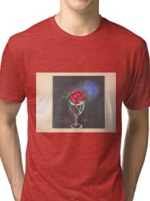 Red Rose in Glass Tri-blend T-Shirt