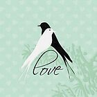 Black and White Love Birds Pillow by red addiction