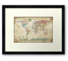 Political World Map Framed Print