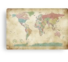 Political World Map Canvas Print
