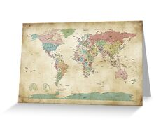 Political World Map Greeting Card