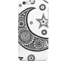 Moon and Star Zentangle Design iPhone Case/Skin