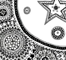 Moon and Star Zentangle Design Sticker
