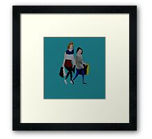 Shopping For Skinny Jeans Two Girls Shopping Acrylic Painting On Paper Blue Framed Print