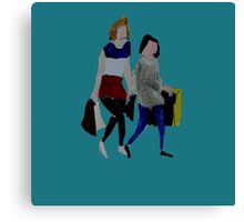 Shopping For Skinny Jeans Two Girls Shopping Acrylic Painting On Paper Blue Canvas Print