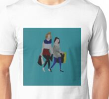 Shopping For Skinny Jeans Two Girls Shopping Acrylic Painting On Paper Blue Unisex T-Shirt