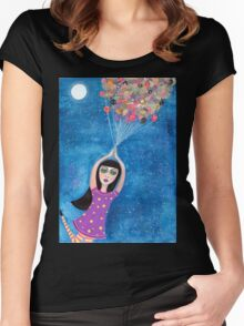 Missy and the Moon Balloons Women's Fitted Scoop T-Shirt