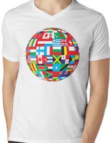 Flags Of The World Globe Mens V-Neck T-Shirt