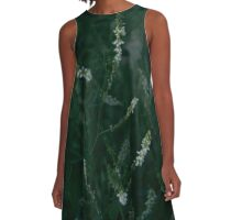 White Flowers Blooming in Dark Green Grass A-Line Dress