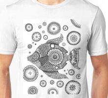 Fish with Bubbles Zentangle Unisex T-Shirt