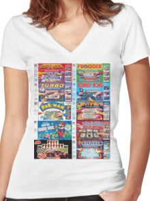 Arcade Board Games Women's Fitted V-Neck T-Shirt