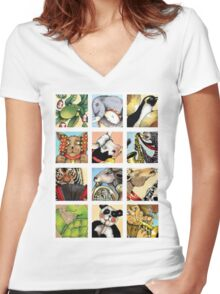 Animal Musicians Montage Women's Fitted V-Neck T-Shirt