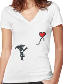 Banksy Zelda Women's Fitted V-Neck T-Shirt