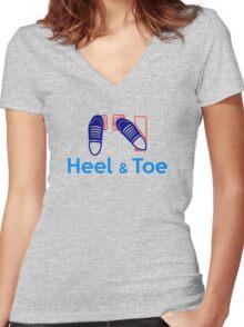 Heel & Toe (3) Women's Fitted V-Neck T-Shirt
