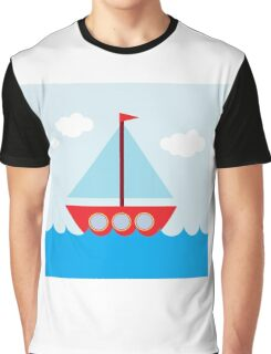 Red & Blue Sailboat Graphic T-Shirt