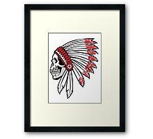 Red Skin Chief Skull Framed Print