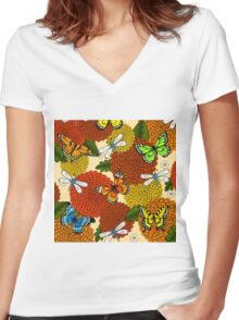 Flowers, Dragonflies, and Butterflies Women's Fitted V-Neck T-Shirt