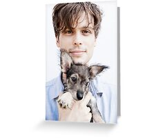Matthew Gray Gubler with dog Greeting Card