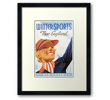Vintage Winter Sports New England Travel Framed Print