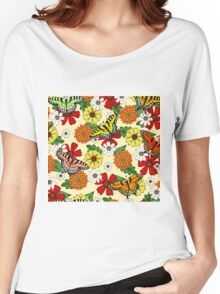 Floral Fantasy Pattern Women's Relaxed Fit T-Shirt