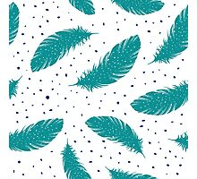 Tribal Teal Feathers Print Collection Photographic Print