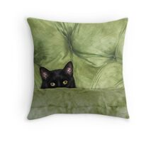 Green-Eyed Girl On Papason Chair Throw Pillow