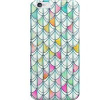 Pencil & Paint Fish Scale Cutout Pattern - white, teal, yellow & pink iPhone Case/Skin