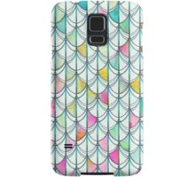 Pencil & Paint Fish Scale Cutout Pattern - white, teal, yellow & pink Samsung Galaxy Case/Skin