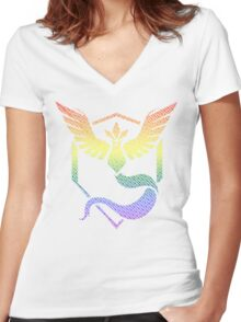 Team Mystic Word Pride Pattern Women's Fitted V-Neck T-Shirt