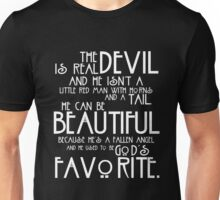 The Devil is Real white text Unisex T-Shirt